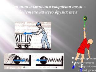 Причина изменения скорости тела – действие на него других тел