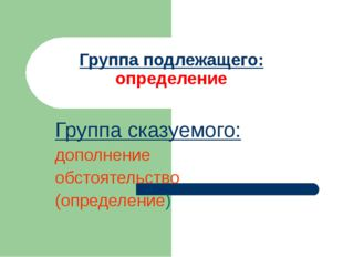 Группа сказуемого: дополнение обстоятельство (определение) Группа подлежащего