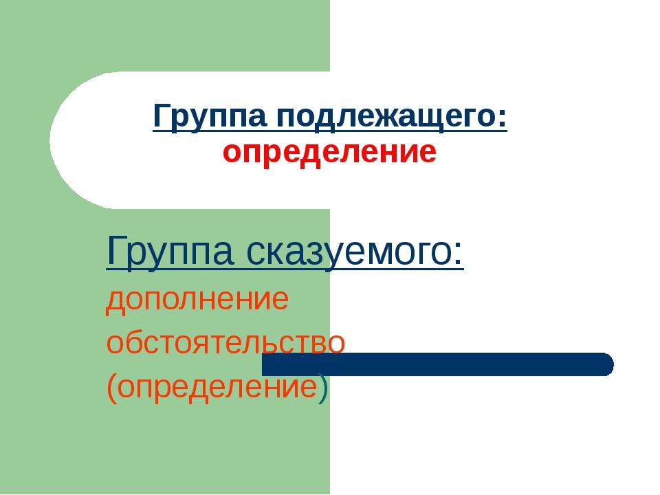 Группа сказуемого: дополнение обстоятельство (определение) Группа подлежащего...