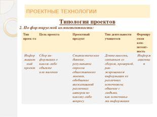 ПРОЕКТНЫЕ ТЕХНОЛОГИИ Типология проектов 2. По формируемой компетентности: Тип