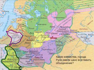 Москва Какие княжества, города Руси имели шанс возглавить объединение?