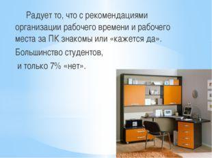 Радует то, что с рекомендациями организации рабочего времени и рабочего мест