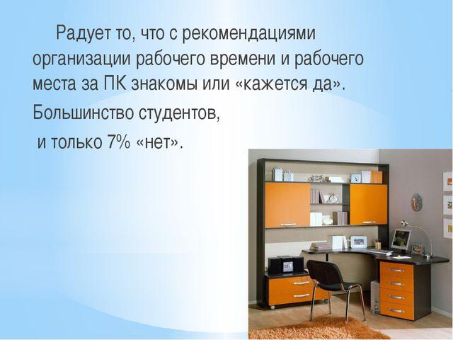 Радует то, что с рекомендациями организации рабочего времени и рабочего мест...