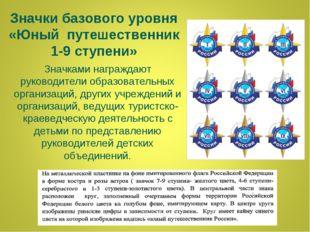 Значки базового уровня «Юный путешественник 1-9 ступени» Значками награждают