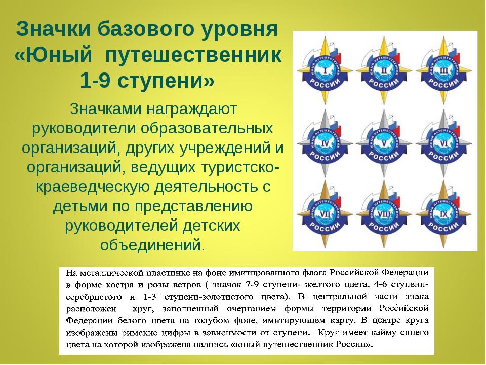 Значки базового уровня «Юный путешественник 1-9 ступени» Значками награждают...