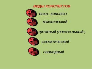 ВИДЫ КОНСПЕКТОВ ПЛАН - КОНСПЕКТ ТЕМАТИЧЕСКИЙ ЦИТАТНЫЙ (ТЕКСТУАЛЬНЫЙ ) СХЕМАТИ