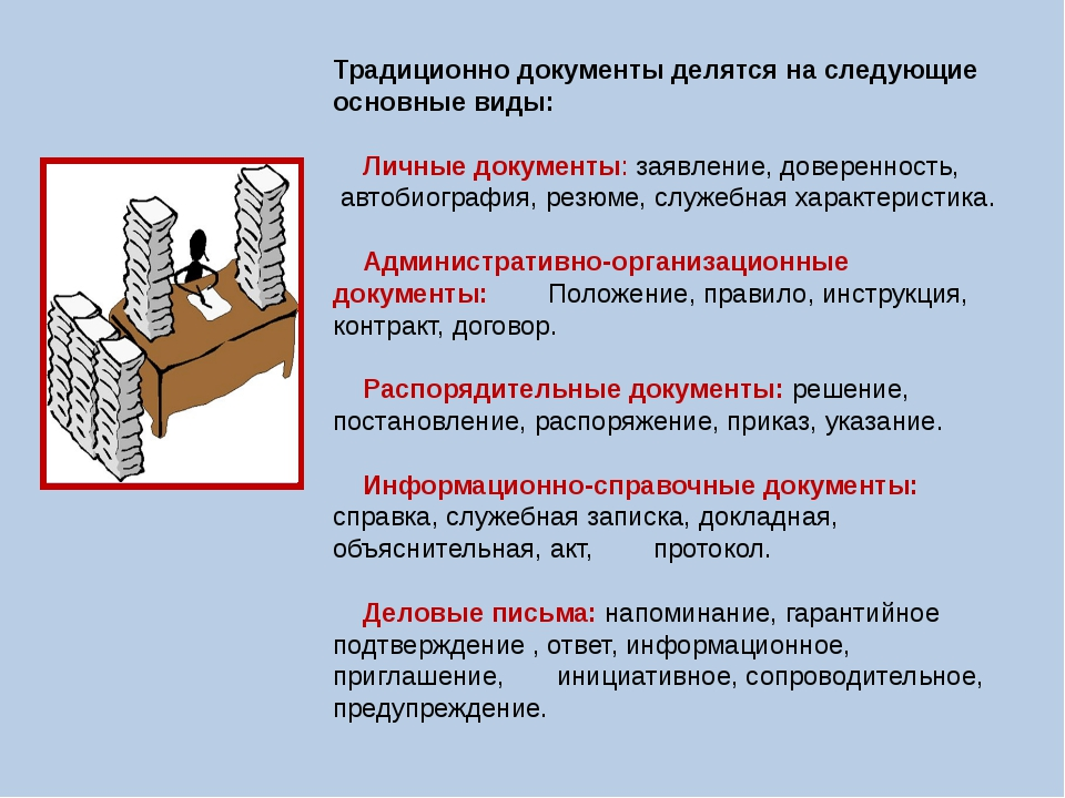 Традиционно документы делятся на следующие основные виды: Личные документы: з...