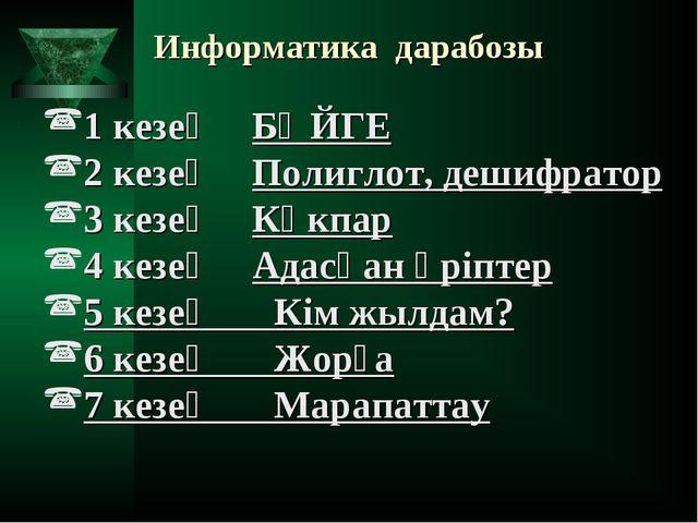 Информатика дарабозы 1 кезең БӘЙГЕ 2 кезең Полиглот, дешифратор 3 кезең Кө...