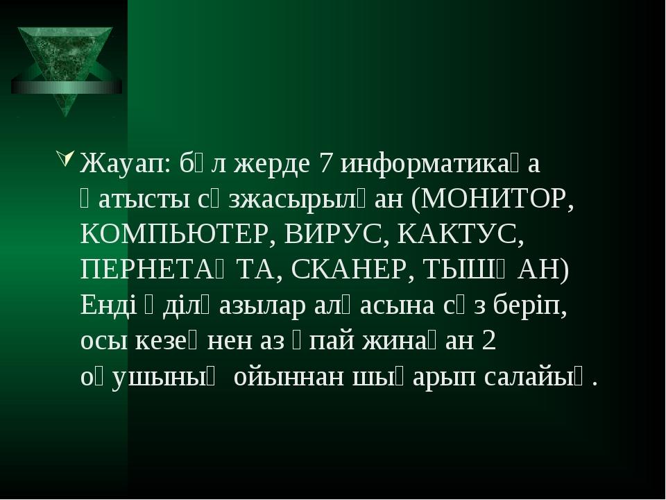 Жауап: бұл жерде 7 информатикаға қатысты сөзжасырылған (МОНИТОР, КОМПЬЮТЕР, В...
