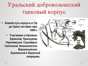 Уральский добровольческий танковый корпус Боевой путь корпуса от Орла до Праг