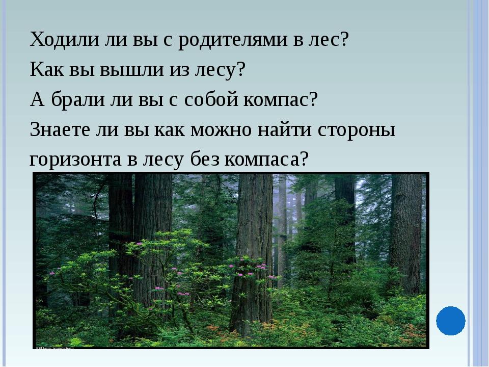 Ходили ли вы с родителями в лес? Как вы вышли из лесу? А брали ли вы с собой...