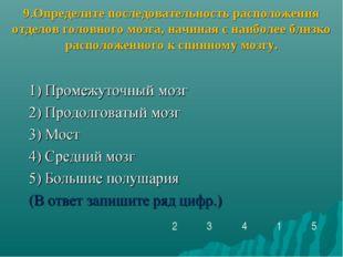 9.Определите последовательность расположения отделов головного мозга, начиная
