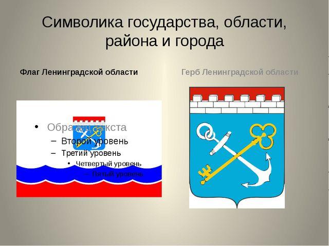 Символика государства, области, района и города Флаг Ленинградской области Ге...