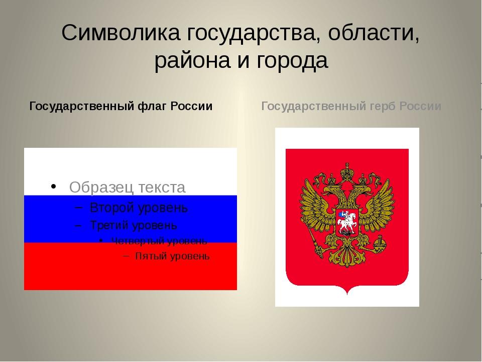 Символика государства, области, района и города Государственный флаг России Г...