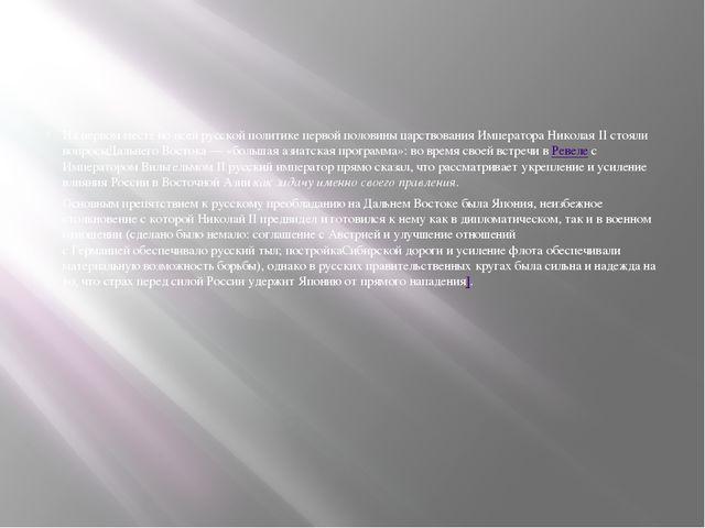 На первом месте во всей русской политике первой половины царствования Импера...