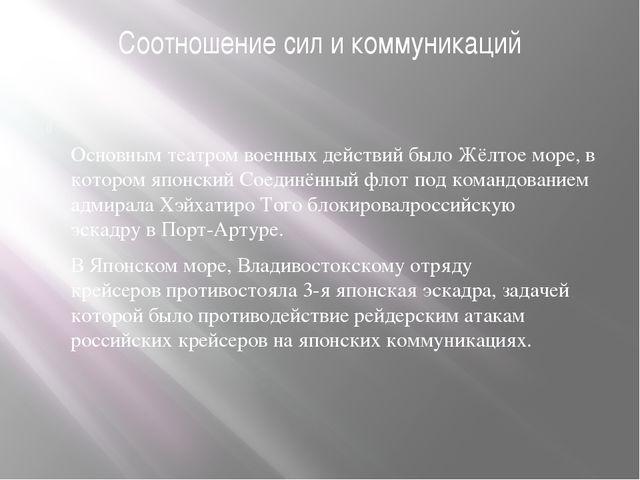 Соотношение сил и коммуникаций Основным театром военных действий былоЖёлтое...