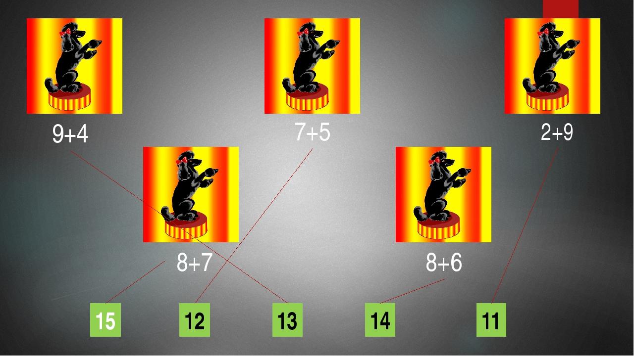 9+4 7+5 8+7 8+6 12 14 13 15 2+9 11