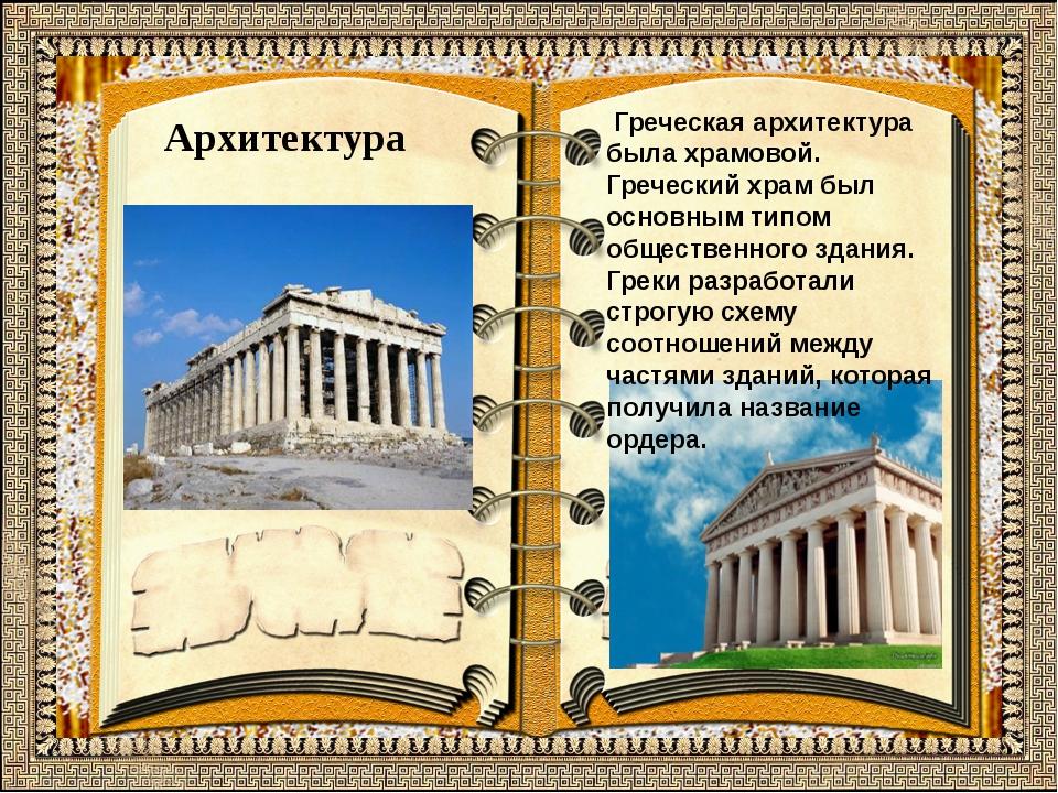 Архитектура Греческая архитектура была храмовой. Греческий храм был основным...