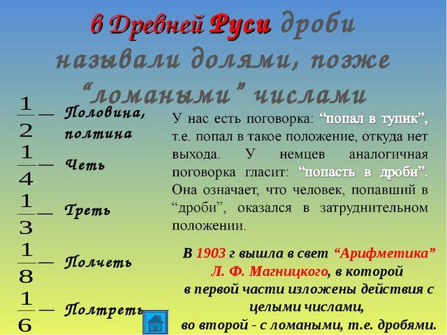 """в Древней Руси дроби называли долями, позже """"ломаными"""" числами Половина, полт..."""