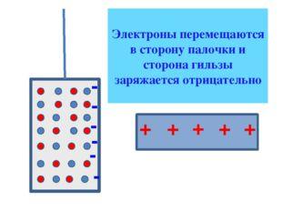 + + + + + Электроны перемещаются в сторону палочки и сторона гильзы заряжает