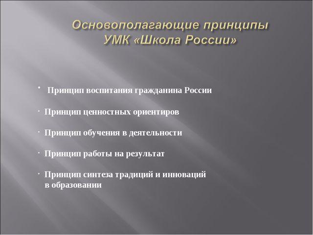 Принцип воспитания гражданина России Принцип ценностных ориентиров Принцип о...