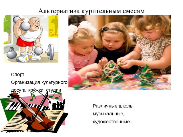 Альтернатива курительным смесям Спорт Организация культурного досуга: кружки,...