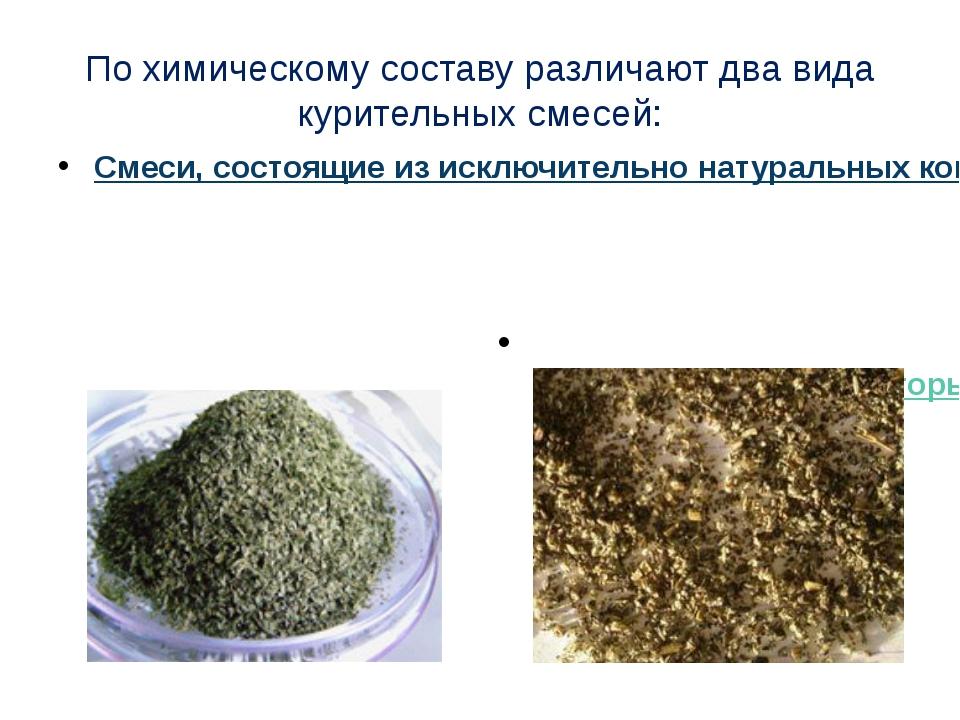 По химическому составу различают два вида курительных смесей: Смеси, состоящи...