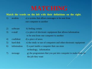 MATCHING Matchthewordsontheleftwiththeirdefinitionsonthe