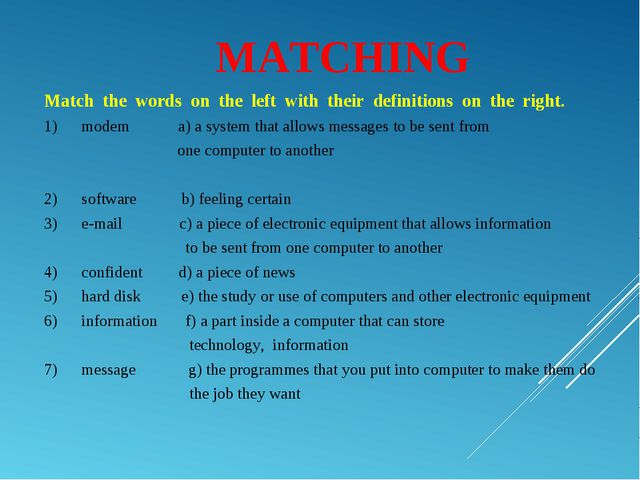 MATCHING Matchthewordsontheleftwiththeirdefinitionsonthe...