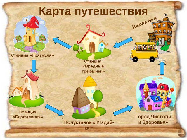 Карта путешествия Станция «Грязнуля» Станция «Вредные привычки» Станция «Бере...