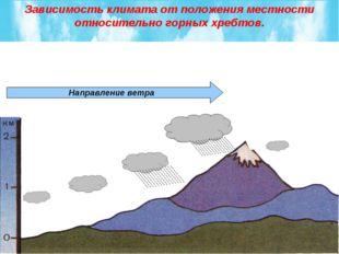 Направление ветра Зависимость климата от положения местности относительно гор