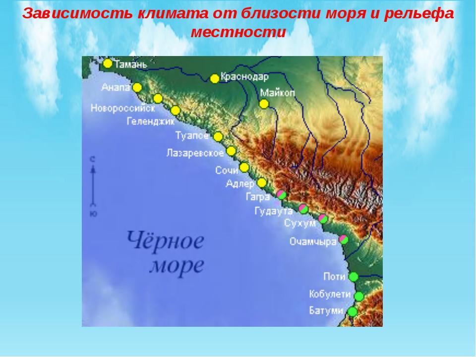 Зависимость климата от близости моря и рельефа местности
