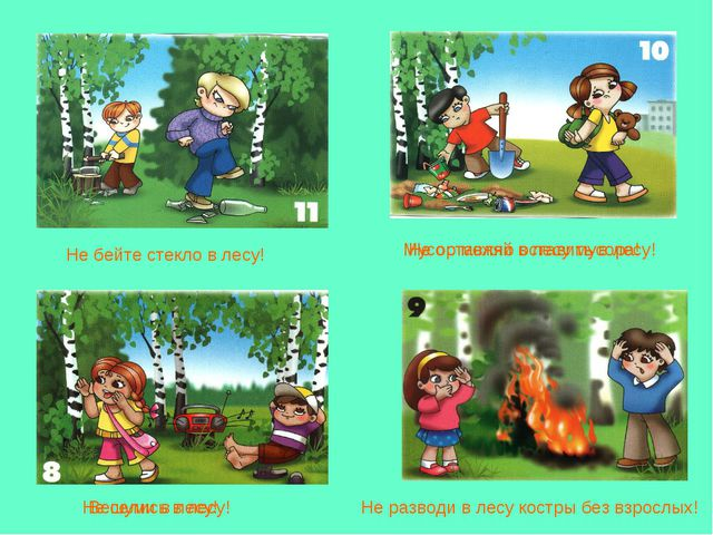 Не шуми в лесу! Не оставляй в лесу мусора! Не разводи в лесу костры без взрос...