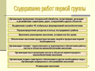 * Организация проведения специальной обработки, дезактивация, дегазация и дез