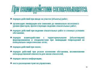 * порядок действий при вводе на участок (объекты) работ; организация ликвидац