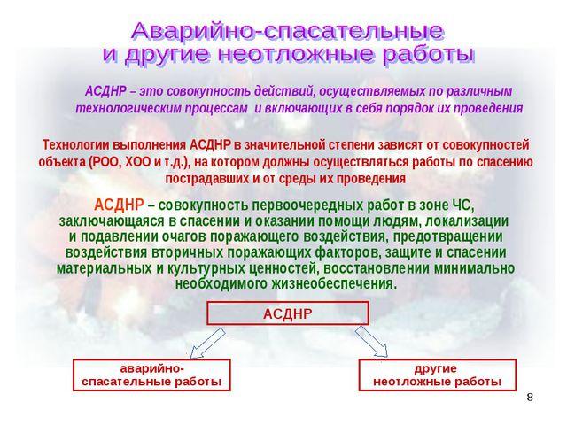 * АСДНР – это совокупность действий, осуществляемых по различным технологичес...