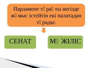 Парламент тұрақты негізде жұмыс істейтін екі палатадан тұрады: СЕНАТ МӘЖІЛІС