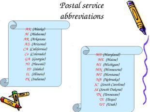 Postal service abbreviations MD (Maryland) ME (Maine) MI (Michigan) MN (Minne
