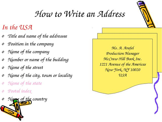 How to Write an Address In the USA Title and name of the addressee Position i...