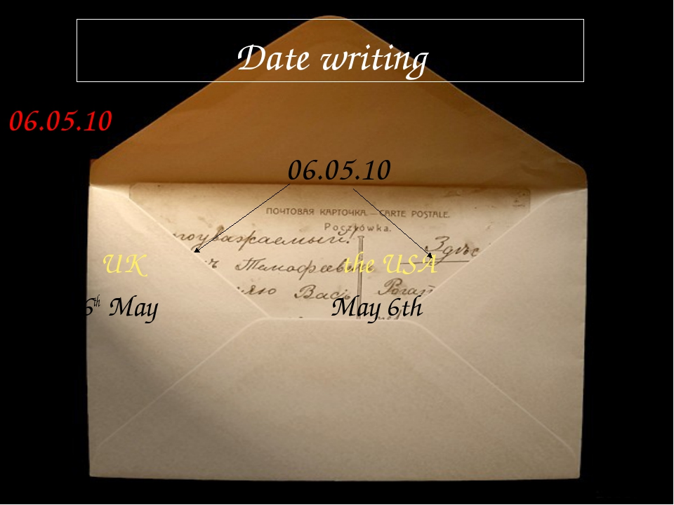 Date writing 06.05.10 06.05.10 UK the USA 6th May May 6th