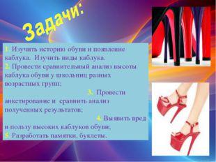 1. Изучить историю обуви и появление каблука. Изучить виды каблука. 2. Провес