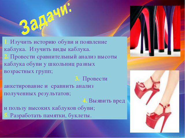 1. Изучить историю обуви и появление каблука. Изучить виды каблука. 2. Провес...
