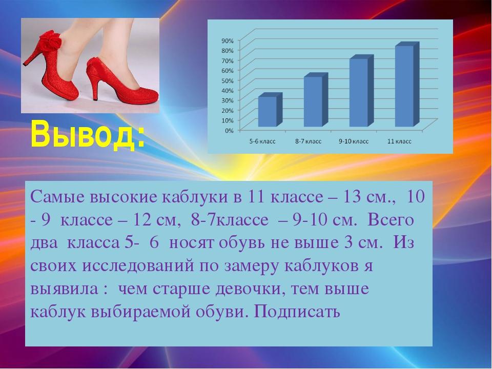 Вывод: Самые высокие каблуки в 11 классе – 13 см., 10 - 9 классе – 12 см, 8-...