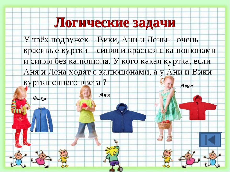Логические задачи У трёх подружек – Вики, Ани и Лены – очень красивые куртки...