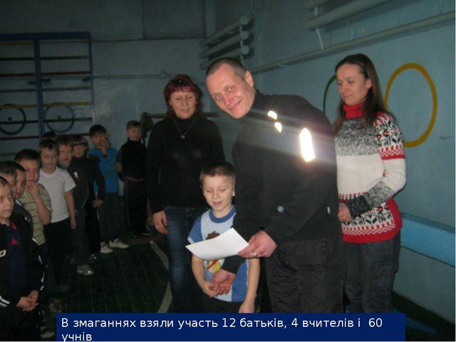 В змаганнях взяли участь 12 батьків, 4 вчителів і 60 учнів