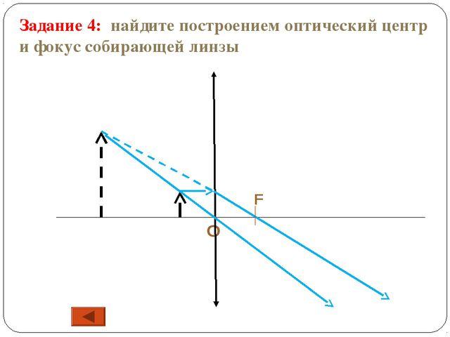 F О Задание 4: найдите построением оптический центр и фокус собирающей линзы