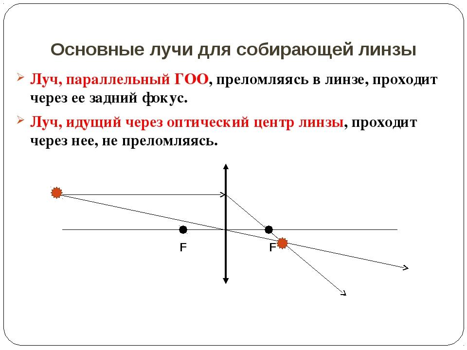 Основные лучи для собирающей линзы Луч, параллельный ГОО, преломляясь в линзе...
