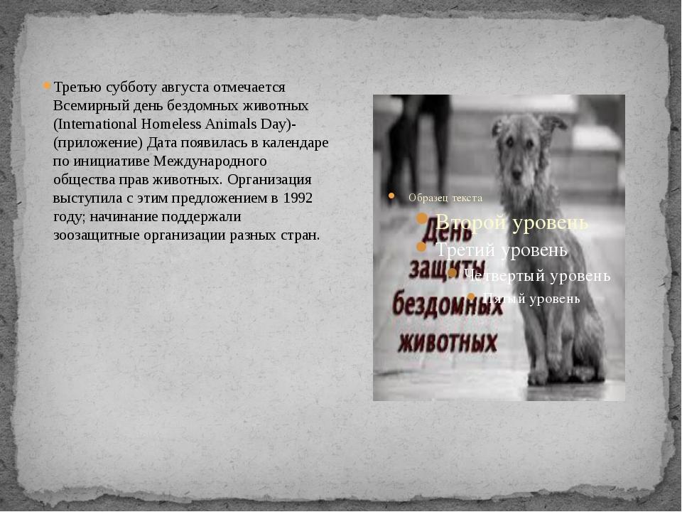 Третью субботу августа отмечается Всемирный день бездомных животных (Interna...