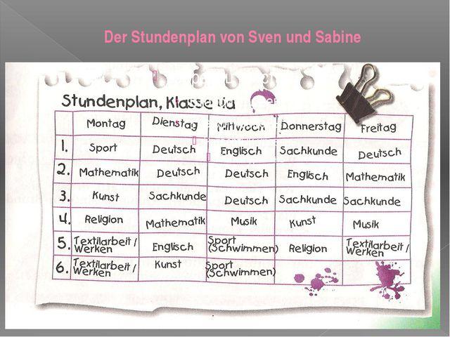 Der Stundenplan von Sven und Sabine