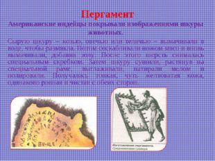 Пергамент Американские индейцы покрывали изображениями шкуры животных. Сырую